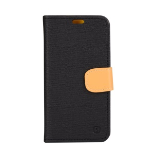 Linen Texture Leather Wallet Flip Case for Lenovo Vibe Shot Z90-7 - Black