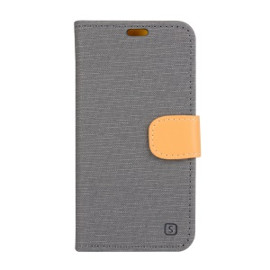 Linen Texture Leather Wallet Cover for Lenovo Vibe Shot Z90-7 - Grey