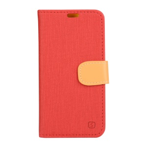 Linen Texture Leather Wallet Shell for Lenovo Vibe Shot Z90-7 - Red