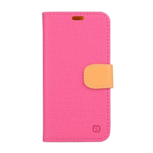 Linen Texture Leather Stand Case for Lenovo Vibe Shot Z90-7 - Rose