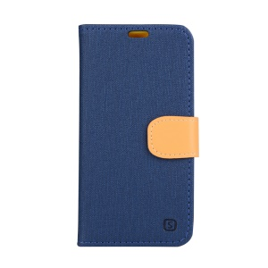 Linen Texture Leather Wallet Case for Lenovo Vibe Shot Z90-7 - Dark Blue