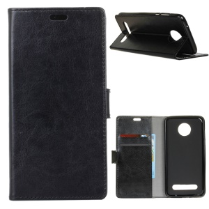 Crazy Horse Texture Wallet Stand Leather Case for Motorola Moto Z3 Play - Black