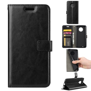 Crazy Horse PU Leather Wallet Stand Phone Case for Motorola Moto G6 - Black