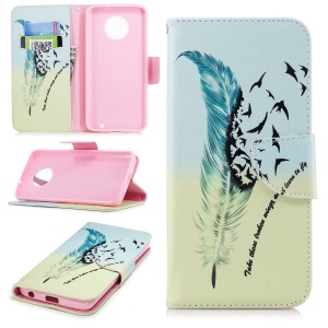 For Motorola Moto G6 Patterned PU Leather Wallet Phone Stand Case - Quill Pen and Birds