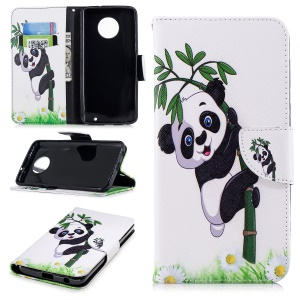 Pattern Printing PU Leather Magnetic Wallet Stand Mobile Phone Case for Motorola Moto G6 Plus - Panda on Bamboo