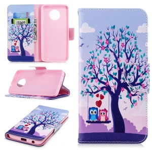 Pattern Printing PU Leather Magnetic Wallet Stand Protective Case for Motorola Moto G6 Plus - Owls on Swing