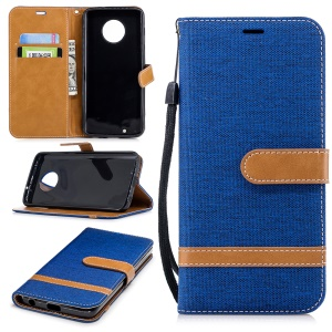 Splicing Jean Cloth PU Leather Wallet Stand Cell Phone Case with Strap for Motorola Moto G6 - Baby Blue