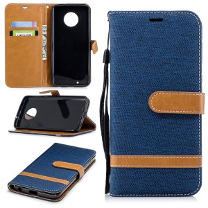 Splicing Jean Cloth PU Leather Wallet Stand Mobile Phone Cover with Strap for Motorola Moto G6 - Dark Blue