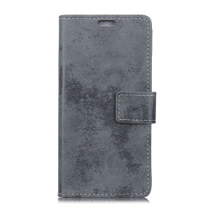 Vintage Style Wallet PU Leather Stand Protective Case for Motorola Moto G6 - Grey