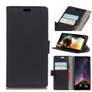 Litchi Skin Wallet Leather Stand Case for Motorola Moto E5 Play - Black