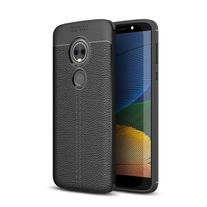 Litchi Texture TPU Phone Case for Motorola Moto E5 Plus - Black