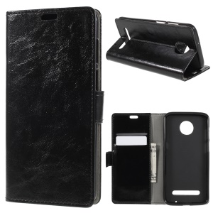 Crazy Horse PU Leather Wallet Case for Motorola Moto Z3 Play - Black