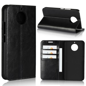 For Motorola Moto G5S Crazy Horse Grain Genuine Leather Wallet Case with Stand - Black