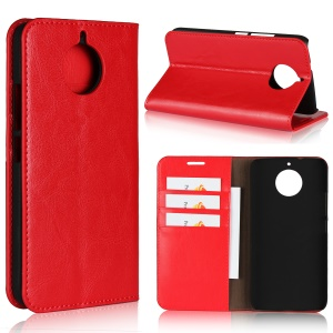 For Motorola Moto G5S Crazy Horse Texture Genuine Leather Wallet Phone Cover with Stand - Red