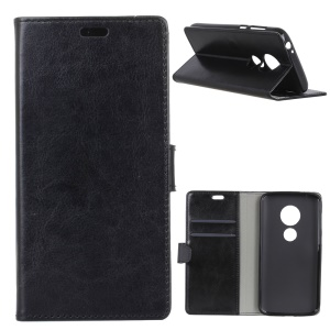 Crazy Horse Texture Wallet Stand Leather Cell Phone Case for Motorola Moto E5 Play - Black