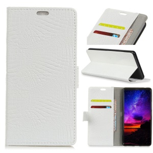 Crocodile Texture Wallet Stand Leather Phone Cover for Motorola Moto E5 Play - White