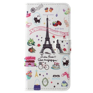 Pattern Printing PU Leather Magnetic Wallet Stand Cell Phone Cover for Motorola Moto E5 Play (US Version) - Eiffel Tower