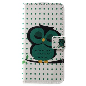 Pattern Printing PU Leather Magnetic Wallet Stand Protective Case for Motorola Moto E5 Play - Sleeping Owl