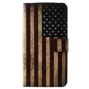 Pattern Printing PU Leather Magnetic Wallet Cover with Stand for Motorola Moto E5 Play (US Version) - Flag of America