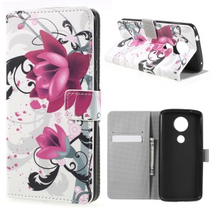 Pattern Printing Wallet Leather Stand Case for Motorola Moto E5 - Purple Flowers