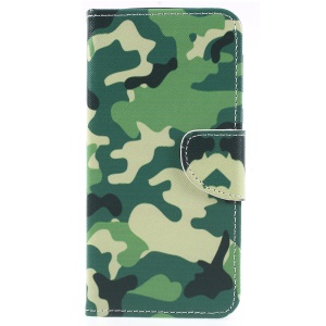 Pattern Printing Cross Texture Leather Wallet Cover Case for Motorola Moto E5 Plus - Camouflage Pattern