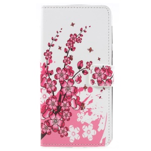 Pattern Printing PU Leather Folio Phone Cover for Motorola Moto E5 Plus - Plum Blossom