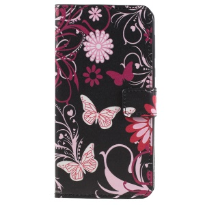 Pattern Printing PU Leather Mobile Phone Cover Shell for Motorola Moto E5 Plus - Butterfly and Flower