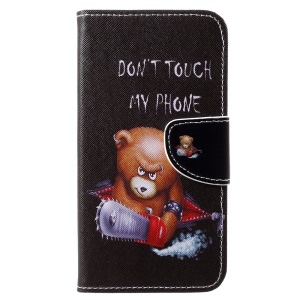 Cross Texture Patterned Wallet Leather Cover for Motorola Moto E5 Play (US Version) - Angry Bear