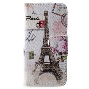 Cross Texture Patterned Wallet Leather Casing for Motorola Moto E5 Play (US Version) - Eiffel Tower