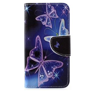 Cross Texture Patterned Wallet Leather Protective Casing for Motorola Moto E5 Play (US Version) - Butterflies Pattern