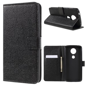 Litchi Texture PU Leather Wallet Stand Cover for Motorola Moto E5 Plus - Black