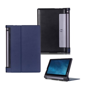 Bi-fold Smart Leather Cover with Stand for Lenovo Yoga Tablet 3 10-inch X50L - Dark Blue
