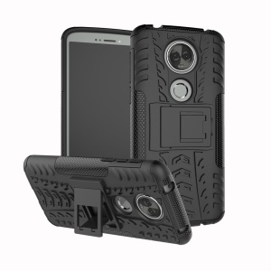Anti-slip PC + TPU Hybrid Case with Kickstand for Motorola Moto E5 Plus - Black