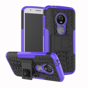 Anti-slip PC + TPU Combo Shell Cover Case with Kickstand for Motorola Moto E5 Play (US Version) - Purple