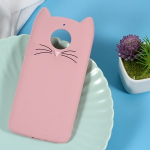 3D Mustache Cat Silicone Case for Motorola Moto G5S - Pink