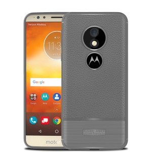 Litchi Skin Brushed TPU Cover for Motorola Moto E5/Moto G6 Play - Grey