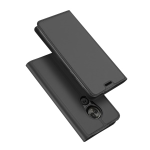 DUX DUCIS Skin Pro Series Card Holder Stand Leather Mobile Case for Motorola Moto E5 Play - Dark Grey
