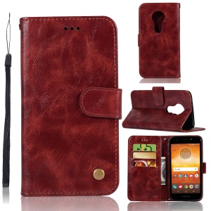 Premium Vintage Leather Wallet Accessory Case for Motorola Moto E5/Moto G6 Play - Wine Red
