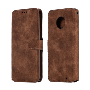 Premium Vintage PU Leather Stand Wallet Protector Shell Case for Motorola Moto G6 Plus - Brown