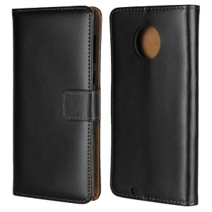 Genuine Leather Wallet Stand Phone Cover Case for Motorola Moto G6 - Black