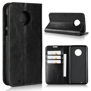 Crazy Horse Texture Wallet Stand Genuine Leather Case for Motorola Moto G6 - Black