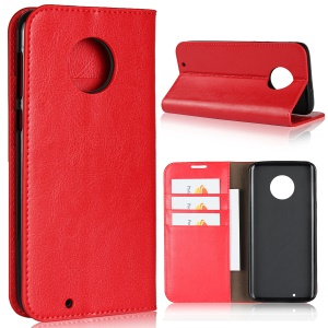Crazy Horse Texture Wallet Stand Genuine Leather Cover for Motorola Moto G6 - Red