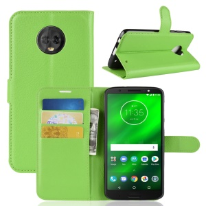 Litchi Texture Wallet Stand Leather Mobile Casing for Motorola Moto G6 Plus - Green