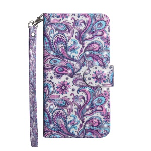 Pattern Printing Light Spot Decor Wallet Stand Leather Flip Protective Casing for Motorola Moto G6 Plus - Paisley Flower