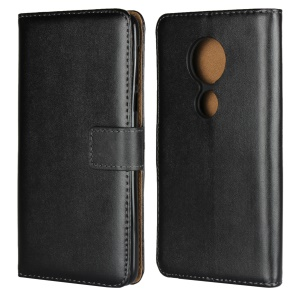 Genuine Leather Wallet Stand Phone Cover Case for Motorola Moto E5 Plus - Black