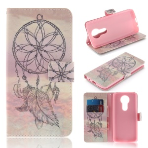 Pattern Printing Wallet Leather Stand Cover for Motorola Moto E5 Plus - Dream Catcher
