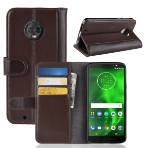 Genuine Split Leather Wallet Stand Flip Case for Motorola Moto G6 - Brown