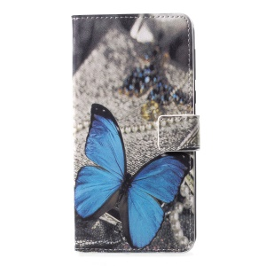 Pattern Printing Magnetic Leather Stand Case for Motorola Moto G6 Plus - Blue Butterfly