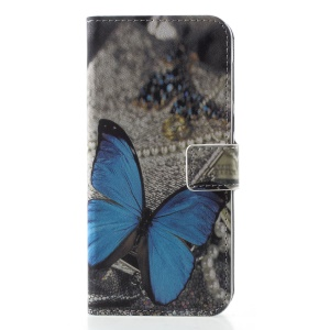 Pattern Printing Wallet Leather Cover with Stand for Motorola Moto G6 - Blue Butterfly