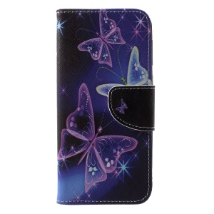 Pattern Printing Cross Texture Leather Stand Cover with Card Slots for Motorola Moto G6 - Vivid Butterflies